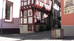 Typical street in Boppard with traditional buildings Stock Footage