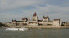 Ferry in front of the Hungarian Parliament Building Stock Footage