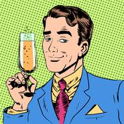 Stock Illustration of man with a glass of champagne date holiday toast