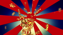 Abstract sunburst with flying dollar signs Stock Footage