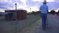 Stopping to watch horse trainer, Farm rancher Stock Footage