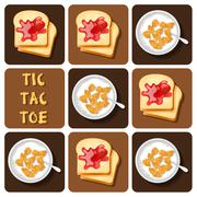 Tic-Tac-Toe of Cereal and Bread - stock illustration