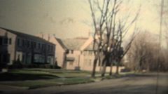 NEW HAVEN, CONNECTICUT - 1958: Wealthy family coming home from a long day. Stock Footage