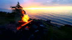 Camp Fire at Great Lakes Stock Footage