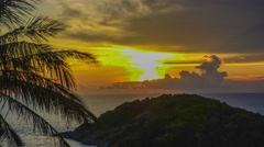 Time Lapse: View of the island in the sea sunset Stock Footage