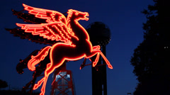 The Original Pegasus figure as a symbol of Dallas Texas Stock Footage