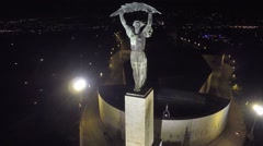 AERIAL Budapest, Hungary, Europe, The Liberty Statue or Freedom Statue, city Stock Footage
