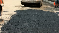 Technique For Laying Asphalt - stock footage