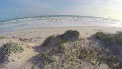 Aerial Shot Over Sand Bank and Beach Crashing Waves South Africa Drone Footage Stock Footage