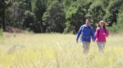 Couple On Hike In Beautiful Countryside Stock Footage