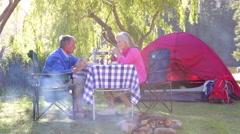 Senior Couple Enjoying Meal On Camping Holiday Stock Footage