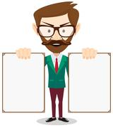 Full body portrait of happy smiling businessman with signboard, isolated on - stock illustration