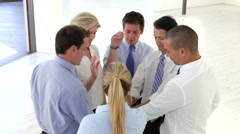 Businessmen And Businesswomen Joining Hands To Celebrate - stock footage