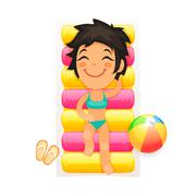 Young Girl Relaxing on a Swim Mattress Stock Illustration
