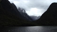 Milford Sound New Zealand Dark Mountains Stock Footage
