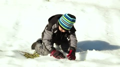 Kid Playing With Snow Stock Footage