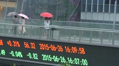 Stock index screen at Shanghai finance district: Lujiazui Stock Footage