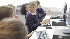 Group Of Children In Computer Class - stock footage