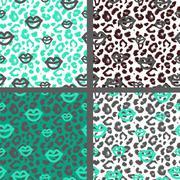 Set leopard print pattern. Set tiger print pattern. Set jaguar print textures Stock Illustration