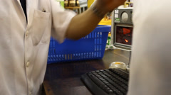 Pay-box, market, groceries at the checkout counter Stock Footage