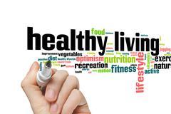 Healthy living word cloud Stock Photos