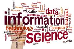 Information science word cloud - stock photo