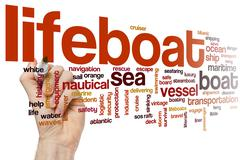 Lifeboat word cloud - stock photo