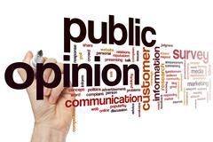 Public opinion word cloud - stock photo