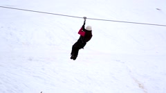 ZIP LINE at Ski Resort Stock Footage