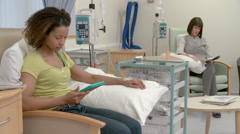 Two Female Patients Having Chemotherapy Treatment Stock Footage