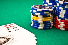 Chips poker and poker aces Stock Photos