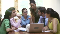 Group Of Office Workers Meeting To Discuss Ideas Stock Footage
