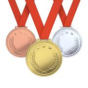 Golden, silver and bronze medals - stock illustration