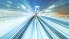 Hyperlapse through Tokyo tunnels via automated monorail Stock Footage