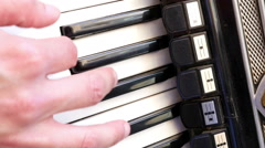 Man plays the accordion, close up Stock Footage