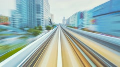Timelapse through Tokyo via the automated guideway transit Stock Footage