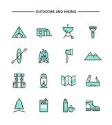 set of flat design, thin line hiking and outdoors icons - stock illustration