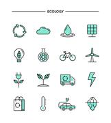 set of flat design, thin line ecology icons - stock illustration