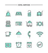 set of flat design, thin line hotel services icons - stock illustration