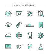 set of flat design, thin line seo and web optimization icons - stock illustration