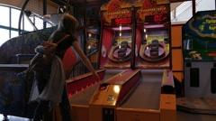 Girl Playing at Fireball Slot Machine - 01 Stock Footage