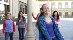 Group Of Teenage Children Posing For Camera In Slow Motion Stock Footage