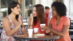Three Female Friends Meeting In Cafe In Slow Motion Arkistovideo