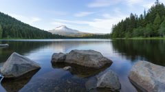 UHD 4k Time Lapse of White Clouds Over Mt Hood and Trillium Lake in Portland OR Stock Footage