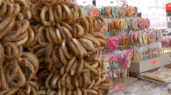 Lollipops and Pretzels at Fair - stock footage