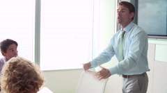 Motivational Speaker Talking To Businesspeople In Boardroom Stock Footage