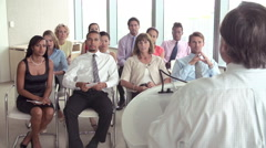 Business Delegates Listening To Presentation At Conference Stock Footage
