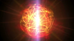 Stock Video Footage of 4k Fire ball sphere nebula background,magic power energy tech,nuclear atom.