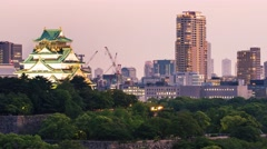 Time-lapse of the historic Osaka Castle at twilight Stock Footage