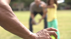 Grandfather With Son And Granddaughter Playing Baseball Stock Footage